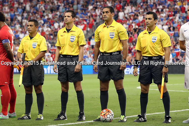 13 July 2015: Match officials. From left: Assistant Referee Alberto Morin (MEX), Fourth Official Henry Bejarano (CRC), Referee Roberto Garcia (MEX), Assistant Referee Leonel Leal (CRC). The United States Men's National Team played the Panama Men's National Team at Sporting Park in Kansas City, Kansas in a 2015 CONCACAF Gold Cup Group A match.