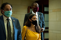 United States Representative Alexandria Ocasio-Cortez (Democrat of New York), makes her way to a classified briefing on election security for members of Congress at the US Capitol in Washington, DC., Friday, July 31, 2020. Credit: Rod Lamkey / CNP /MediaPunch