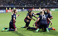 Football, Uefa Women's Champions League Final, VfL Wolfsburg - Olympique Lyonnais, Valeriy Lobanovskyi Stadium in Kiev on May 24, 2018.<br /> Olympique Lyonnais' Eug&eacute;nie Le Sommer celebrates after scoring  with her teammates during the Uefa Women's Champions League Final between  VfL Wolfsburg and Olympique Lyonnais, at the Valeriy Lobanovskyi Stadium in Kiev, on May 24, 2018.<br /> UPDATE IMAGES PRESS/Isabella Bonotto