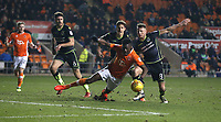 Blackpool's Armand Gnanduillet is denied a penalty as he battles against Bristol Rovers' Ollie Clarke (right) and Tom Lockyer<br /> <br /> Photographer Stephen White/CameraSport<br /> <br /> The EFL Sky Bet League One - Blackpool v Bristol Rovers - Saturday 13th January 2018 - Bloomfield Road - Blackpool<br /> <br /> World Copyright &copy; 2018 CameraSport. All rights reserved. 43 Linden Ave. Countesthorpe. Leicester. England. LE8 5PG - Tel: +44 (0) 116 277 4147 - admin@camerasport.com - www.camerasport.com