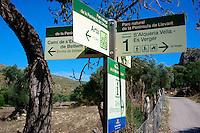Info Schild im Parc Natural de la Peninsula de Llevant: SPANIEN, MALLORCA, 02.10.2013:Info Schild im Parc Natural de la Peninsula de Llevant
