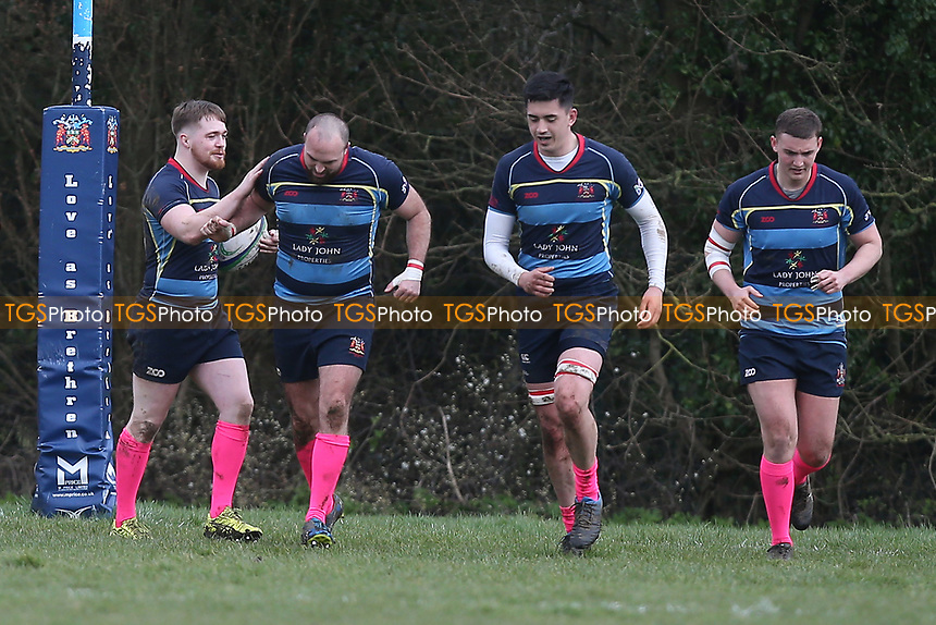 Coopers score their third try during Old Cooperians RFC vs Barking RFC, London 3 Essex Division Rugby Union at the Coopers Company and Coborn School on 14th March 2020
