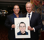Michael Mayer and Max Klimavicius during the Michael Moore And Michael Mayer portrait unveilings as they join the Wall of Fame at Sardi's on September 21, 2017 at Sardi's in New York City.