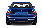 Straight rear view of 2019 BMW 3-Series M-Sport 4 Door Sedan Rear View  stock images
