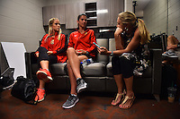 Houston, TX - Saturday Oct. 08, 2016: Abigail Dahlkemper, Abby Erceg during a press conference prior to the National Women's Soccer League (NWSL) Championship match between the Washington Spirit and the Western New York Flash at Houston Sports Park.