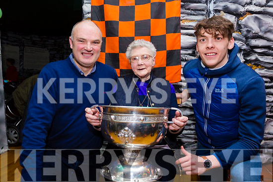 'It's in the blood', David Clifford(right) pictured here with his Grandmother Breda Clifford from Castlecove and his Uncle Barry Clifford(SK PRO & Chairman Board na nÓg) at a night with the 'Tommy Markem Cup' in Staigue Fort Castlecove on Sunday night.