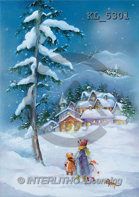 Interlitho, Emilia, CHRISTMAS LANDSCAPE, paintings, village, people, tree(KL5301,#XL#) Landschaften, Weihnachten, paisajes, Navidad, illustrations, pinturas