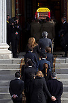 Arrival of the coffin before the funeral chapel in honor of Prime Minister Adolfo Suarez in the Congress of Deputies in Madrid, Spain. March 24, 2014. (ALTERPHOTOS / Marin Caro)