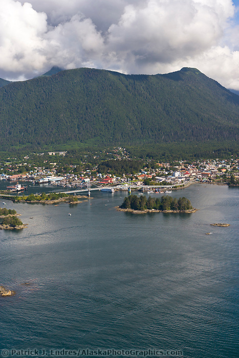 Aerial view of the coastal community of Sitka, Alaska, on Baranof Island in the Southeast Alaska panhandle.