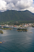 Aerial view of the coastal community of Sitka, Alaska, on Baranoff Island in the Southeast Alaska panhandle.