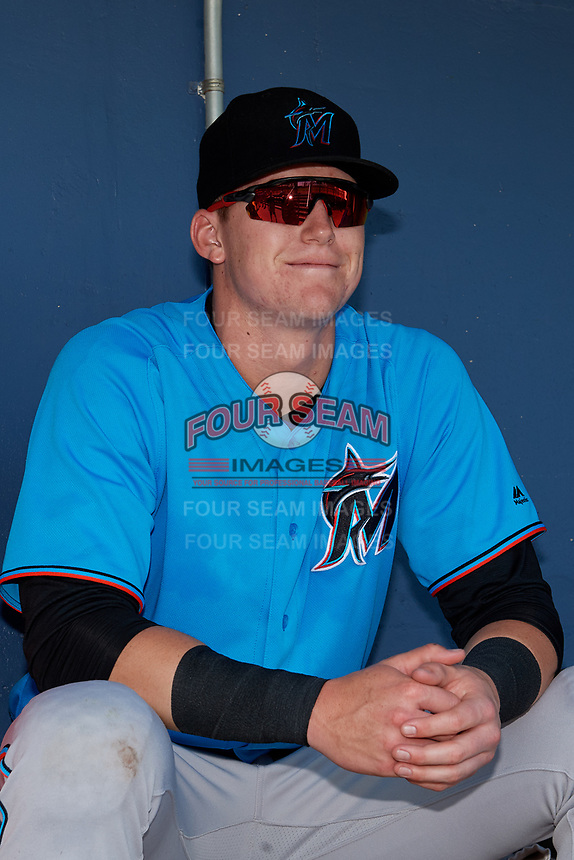 Miami Marlins Sean Reynolds (30) in the dugout before an Instructional League game against the Washington Nationals on September 26, 2019 at FITTEAM Ballpark of The Palm Beaches in Palm Beach, Florida.  (Mike Janes/Four Seam Images)