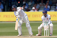 Tim Ambrose in batting action for Warwickshire as James Foster looks on from behind the stumps during Essex CCC vs Warwickshire CCC, Specsavers County Championship Division 1 Cricket at The Cloudfm County Ground on 21st June 2017