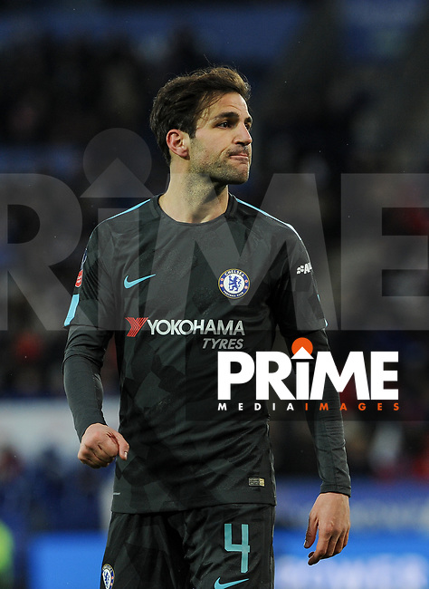 Cesc Fabregas of Chelsea during the FA Cup QF match between Leicester City and Chelsea at the King Power Stadium, Leicester, England on 18 March 2018. Photo by Stephen Buckley / PRiME Media Images.