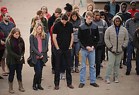 NWA Democrat-Gazette/ANDY SHUPE<br /> A group of participants pauses Friday, Nov. 20, 2015, in silent prayer and reflection during a vigil  on the University of Arkansas campus in Fayetteville in remembrance of those killed around the world by terrorist attacks during the last week.