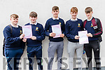 Pobalscoil Inbhear Sceine Kenmare Leaving Certs after English Paper 1 on 5th June. L-R: Jason O'Shea, Dylan O'Connor, David Ciuciu, Cian O'Connor and Kane Reidy