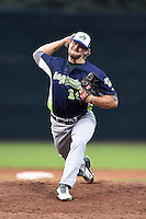 Vermont Lake Monsters pitcher Jordan Schwartz (10) delivers a warmup pitch during a game against the Jamestown Jammers on July 12, 2014 at Russell Diethrick Park in Jamestown, New York.  Jamestown defeated Vermont 3-2.  (Mike Janes/Four Seam Images)