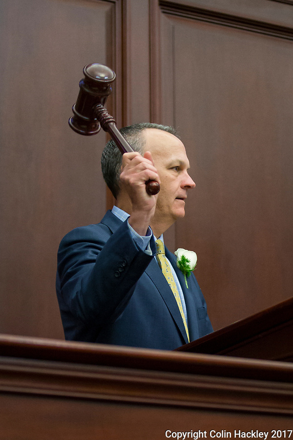 TALLAHASSEE, FLA. 3/7/17-House Speaker Richard Corcoran, R-Land O'Lakes, gavels the House back to order during opening day of the 2017 legislative session at the Capitol in Tallahassee.<br /> <br /> COLIN HACKLEY PHOTO