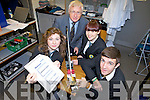 IT'S SEISMOLOGY: Mercy Mounthawk secondary school is one of only two schools in Kerry to have seismology equipment set up in their school. Pictured l-r were: Aisling Shalvey, Tom Blake, Siobhan Gannon and David Griffin.