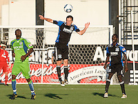 Sam Cronin of the Earthquakes in action during the game against the Sounders at Buck Shaw Stadium in Santa Clara, California on July 31st, 2010.   Seattle Sounders defeated San Jose Earthquakes, 1-0.