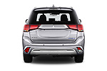 Straight rear view of a 2019 Mitsubishi Outlander PHEV Intense 5 Door SUV stock images
