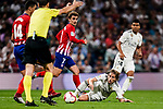 Luka Modric of Real Madrid (R) fights for the ball with Rodrigo Cascante of Atletico de Madrid (H) during their La Liga  2018-19 match between Real Madrid CF and Atletico de Madrid at Santiago Bernabeu on September 29 2018 in Madrid, Spain. Photo by Diego Souto / Power Sport Images