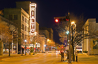 The Rialto Theater is a prominent landmark in downtown Joliet, Illinois, especially at night