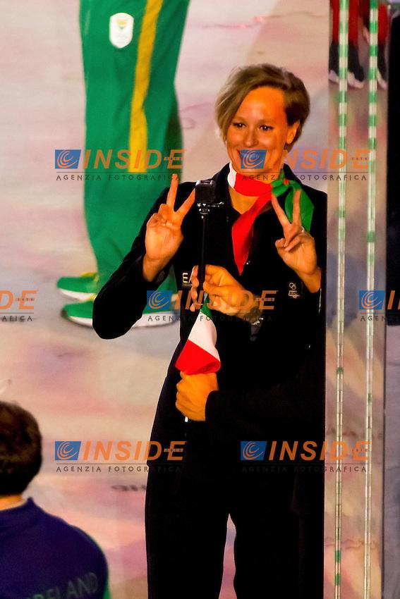 Federica Pellegrini ITA Italian Flag bearer <br /> Rio de Janeiro 06-08-2016 XXXI Olympic Games <br /> Maracana' Stadium <br /> Opening Ceremony 05/08/2016<br /> Photo Giorgio Scala/Deepbluemedia/Insidefoto