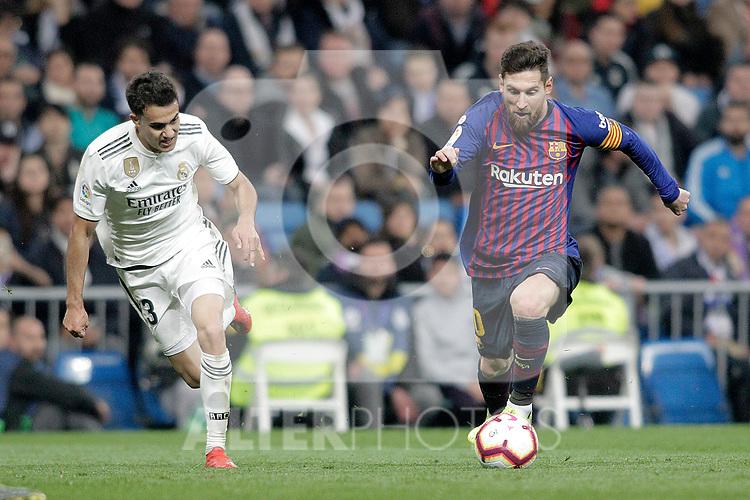 Real Madrid CF's Sergio Reguilon and FC Barcelona's Leo Messi during La Liga match. March 02,2019. (ALTERPHOTOS/Alconada)