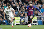 Real Madrid CF's Sergio Reguilon and FC Barcelona's Leo Messi during La Liga match. March 02,2019. (ALTERPHOTOS/Alconada)