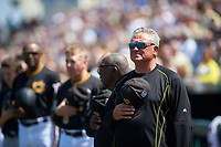 Pittsburgh Pirates manager Clint Hurdle (13) stands for the national anthem before a Spring Training game against the Boston Red Sox on March 9, 2016 at McKechnie Field in Bradenton, Florida.  Boston defeated Pittsburgh 6-2.  (Mike Janes/Four Seam Images)