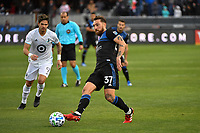 SAN JOSE, CA - MARCH 7: Guram Kashia #37 of the San Jose Earthquakes passes the ball during a game between Minnesota United FC and San Jose Earthquakes at Earthquakes Stadium on March 7, 2020 in San Jose, California.