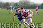 Sean Horan, No8 Scartaglen and Kieran Enright, Cordal in action last Saturday evening in Castleisland Desmonds GAA ground, in the Kerry petroleum Junior Club Championship round 3, group 3.