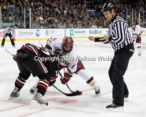 Steve Silva (Northeastern - 17), Brian Gibbons (Boston College - 17) - The Northeastern University Huskies defeated the Boston College Eagles 6-1 in their opening 2009 Beanpot game at TD Banknorth Garden in Boston, MA.