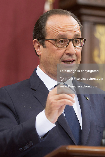 French President Francois Hollande speaks at the National Assembly in Quebec city, Tuesday November 4, 2014.