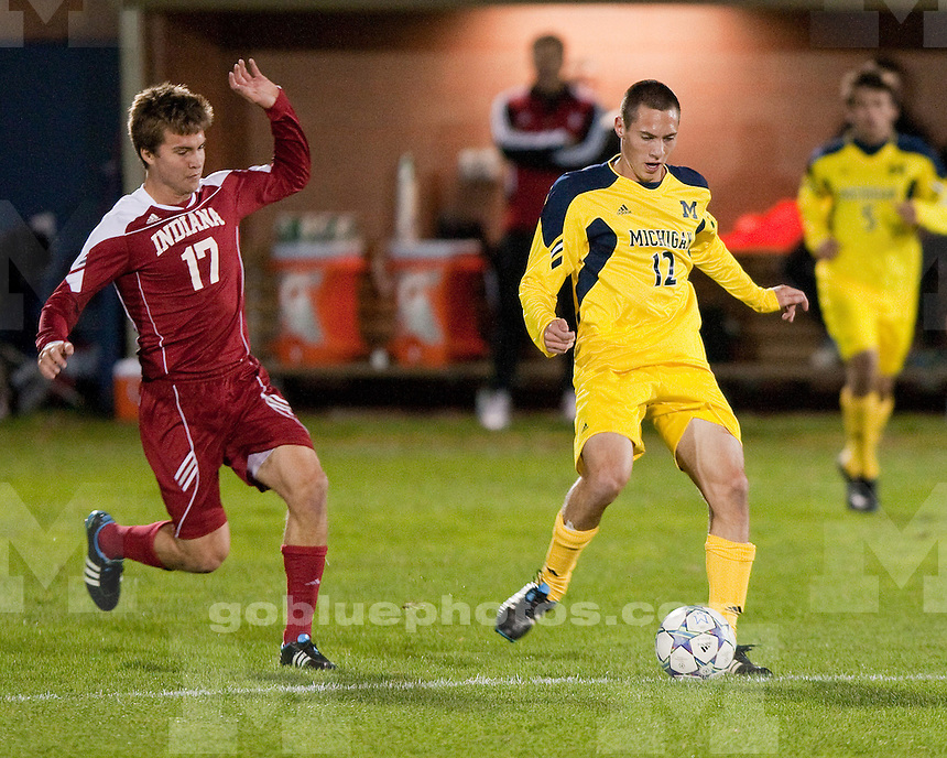 The University of Michigan men's soccer team lost, 4-1, to No. 18 Indiana at the UM Soccer Complex in Ann Arbor, Mich., on October 15, 2011.