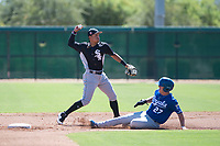 Chicago White Sox shortstop Luis Curbelo (21) throws to first base on a double play attempt as Eric Cole (27) slides into second base during an Instructional League game against the Kansas City Royals at Camelback Ranch on September 25, 2018 in Glendale, Arizona. (Zachary Lucy/Four Seam Images)