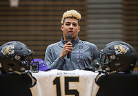NWA Democrat-Gazette/BEN GOFF @NWABENGOFF<br /> Donte Jones, Bentonville football player, makes remarks before signing his national letter of intent to play at Central Arkansas Wednesday, Feb. 6, 2019, during a signing ceremony at Bentonville's Tiger Arena.