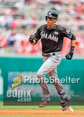 14 May 2016: Miami Marlins outfielder Christian Yelich rounds the bases after hitting a home run during the first game of a double-header against the Washington Nationals at Nationals Park in Washington, DC. The Nationals defeated the Marlins 6-4 in the afternoon matchup.  Mandatory Credit: Ed Wolfstein Photo *** RAW (NEF) Image File Available ***
