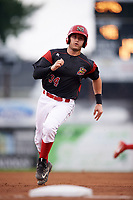 Batavia Muckdogs third baseman Bubba Hollins (34) running the bases during a game against the Williamsport Crosscutters on August 3, 2017 at Dwyer Stadium in Batavia, New York.  Williamsport defeated Batavia 2-1.  (Mike Janes/Four Seam Images)