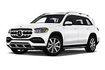 Stock pictures of low aggressive front three quarter view of 2020 Mercedes Benz GLS GLS450 5 Door SUV Low Aggressive