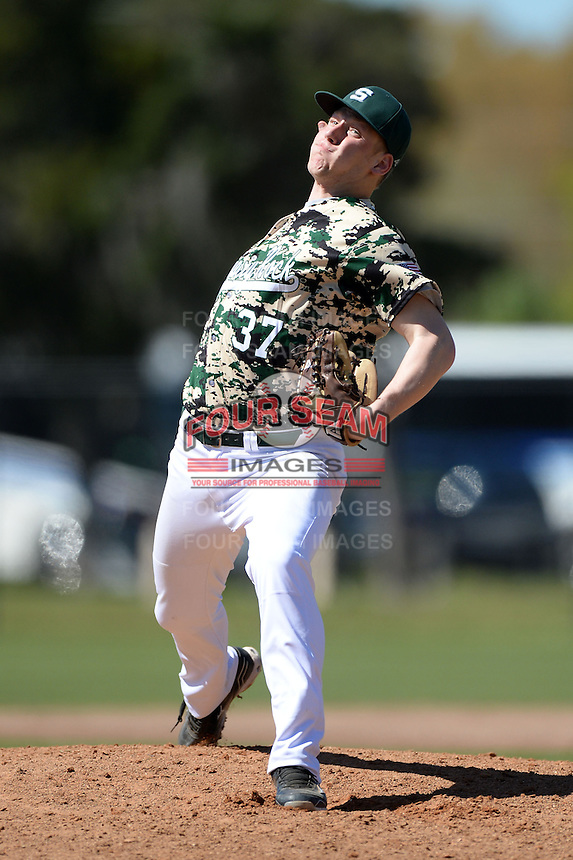 Slippery Rock pitcher James Divosevic (37) during a game against Upper Iowa University at Frank Tack Field on March 14, 2014 in Clearwater, Florida.  Slippery Rock defeated Upper Iowa 14-9.  (Mike Janes/Four Seam Images)