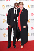 Sir Mo Farah and Claire Balding in the winners room for the BAFTA TV Awards 2018 at the Royal Festival Hall, London, UK. <br /> 13 May  2018<br /> Picture: Steve Vas/Featureflash/SilverHub 0208 004 5359 sales@silverhubmedia.com