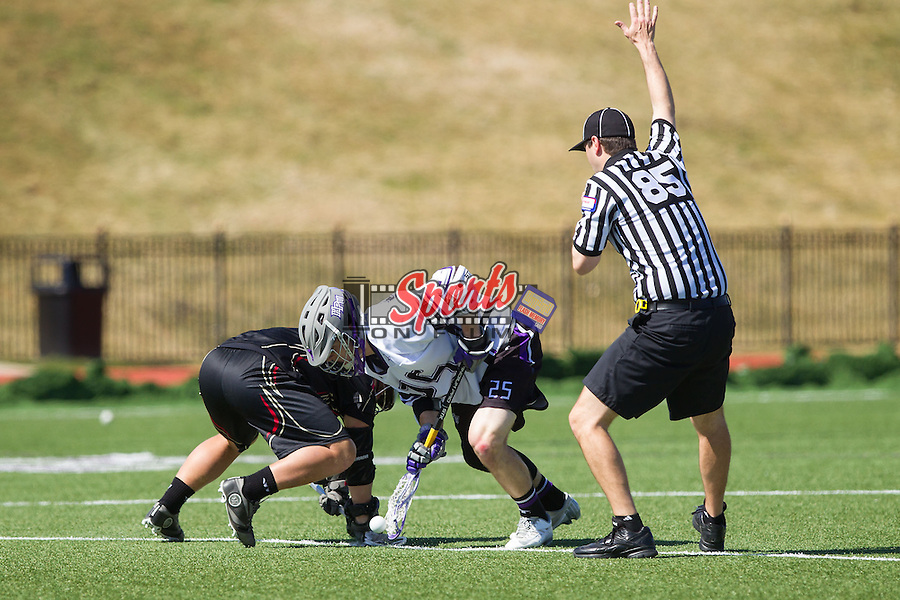 Jamie Piluso (25) of the High Point Panthers wins a face-off against the VMI Keydets at Vert Track, Soccer & Lacrosse Stadium on March 8, 2014 in High Point, North Carolina.  The Panthers defeated the Keydets 9-8.   (Brian Westerholt/Sports On Film)