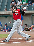 Grand Prairie AirHogs 3rd Baseman Cesar Nicolas (25) in action during the American Association of Independant Professional Baseball game between the Grand Prairie AirHogs and the Fort Worth Cats at the historic LaGrave Baseball Field in Fort Worth, Tx. Fort Worth defeats Grand Prairie 8 to 7...
