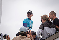 BELLS BEACH, Torquay, Victoria, Australia    (Thursday, April 5, 2018) Stephanie Gilmore (AUS) - The Rip Curl Pro Bells Beach, Stop No. 2 on the World Surf League (WSL) Championship Tour (CT), wrapped up today with some solid clean 2m waves coming through Bells on the incoming tide.<br /> Italo Ferreira (BRA) could not have chosen a more dramatic context in which to earn his first-ever Championship Tour event win. Thursday afternoon at the Rip Curl Pro Bells Beach, the electric Brazilian defeated the man of the hour, three-time World Champion Mick Fanning (AUS), whose impending retirement after Bells added a bittersweet weight to the proceedings. <br /> <br /> <br /> But when the two paddled out for what would be a first for one of them, and a last for the other, none of that mattered to Ferreira. Instead, he showcased what he is capable of, and made his first serious step toward joining a World Title conversation.<br /> <br /> Plus, if you're going to win your first CT event, taking home the most coveted trophy in surfing isn't a bad way to go about it. Add Mick Fanning to the mix and it's even sweeter.<br /> <br /> &quot;I can't believe it,&quot; said Ferreira. &quot;It's just amazing. Mick Fanning is a hero to me. He's inspired me every single day, at every single competition. Remember his movie 3 Degrees? I've seen that 2000 times.&quot; <br /> <br /> Six-time World Champion Stephanie Gilmore (AUS)  took a step toward winning a seventh Title Thursday when she won the Rip Curl Women's Pro Bells Beach. She also became one of just a few surfers -- Mark Richards, Kelly Slater and Mick Fanning among them -- to ring the winner's bell an incredible fourth time. Photo: joliphotos.com