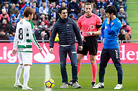 Tribute to the Spanish ice skater Javier Fernandez (c) in presence of Getafe CF's Gaku Shibasaki (r) and SD Eibar's Takashi Inui during La Liga match. December 09,2017. (ALTERPHOTOS/Acero)<br /> Liga Campionato Spagna 2017/2018<br /> Foto Alterphotos / Insidefoto <br /> ITALY ONLY