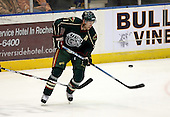 February 24th 2008:  Steve Kelly (11) of the Houston Aeros tries to knock down the puck during a game vs. the Rochester Amerks at Blue Cross Arena at the War Memorial in Rochester, NY.  The Aeros defeated the Amerks 4-0.   Mike Janes Photography