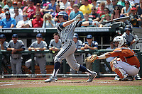 Grant Palmer #27 of the UC Irvine Anteaters bats during Game 1 of the 2014 Men's College World Series between the UC Irvine Anteaters and Texas Longhorns at TD Ameritrade Park on June 14, 2014 in Omaha, Nebraska. (Brace Hemmelgarn/Four Seam Images)