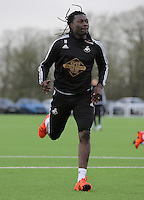 Pictured: Bafetimbi Gomis Wednesday 23 December 2015<br /> Re: Swansea City FC training ahead of their West Bromwich Albion game, Fairwood, near Swansea, Wales, UK