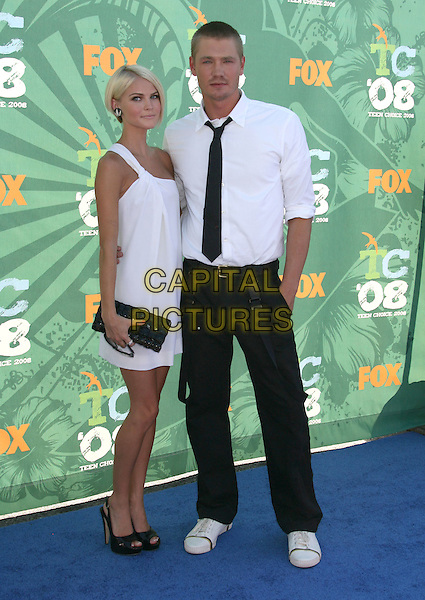 KENZIE DALTON & CHAD MICHAEL MURRAY .2008 Teen Choice Awards held at the Gibson Amphitheater, Universal City, California, USA, 03 August 2008..full length white dress black tie shirt braces jeans one shoulder  .CAP/ADM/MJ.©Michael Jade/Admedia/Capital Pictures